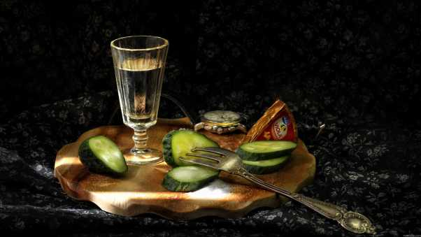 vodka, wine-glass, cucumbers