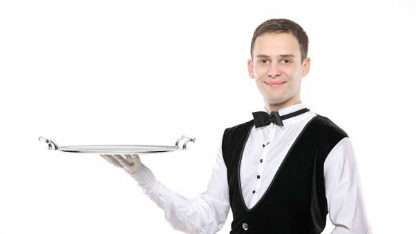 waiter, tray,  white background