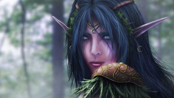 warcraft, elf, face