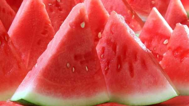 water-melon, segments, slices