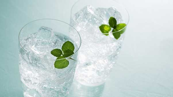 water, mint, ice
