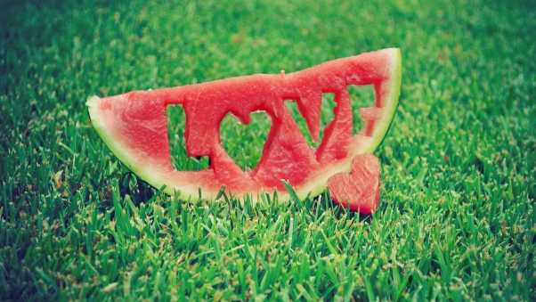 watermelon, love, grass