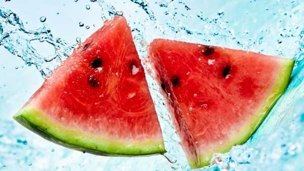 watermelon, slices, water