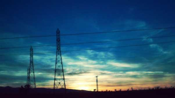 wire, sky, sunset