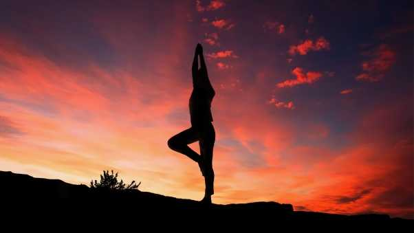 yoga, silhouette, sunset